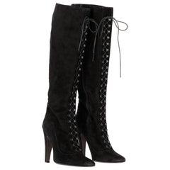 2000s Giambattista Valli Black Suede Boots