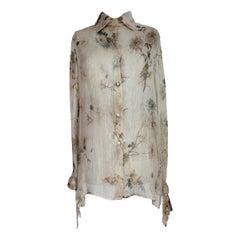 2000s Gianfranco Ferre Beige Floral Silk Transparent Shirt