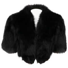 2000s Gianfranco Ferré Black Fox Fur Cape