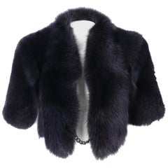 2000s Gianfranco Ferrè Blue Fox Fur Cape