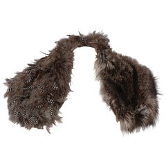 2000s Gianfranco Ferrè Silver Fox And Feathers Fur Scarf