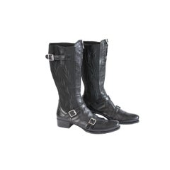 2000s Gianni Barbato Black Leather Shoes Boots