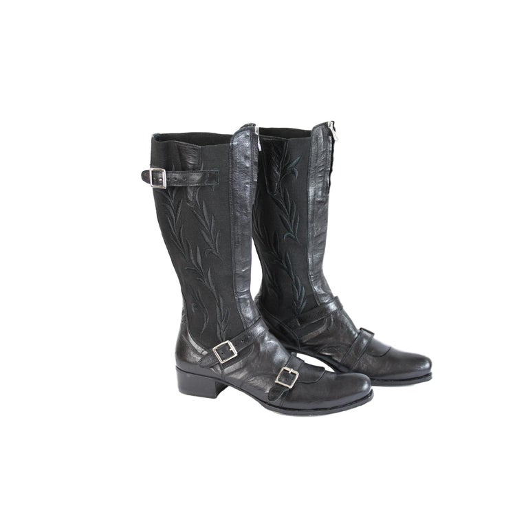 2000s Gianni Barbato Black Leather Shoes Boots For Sale At
