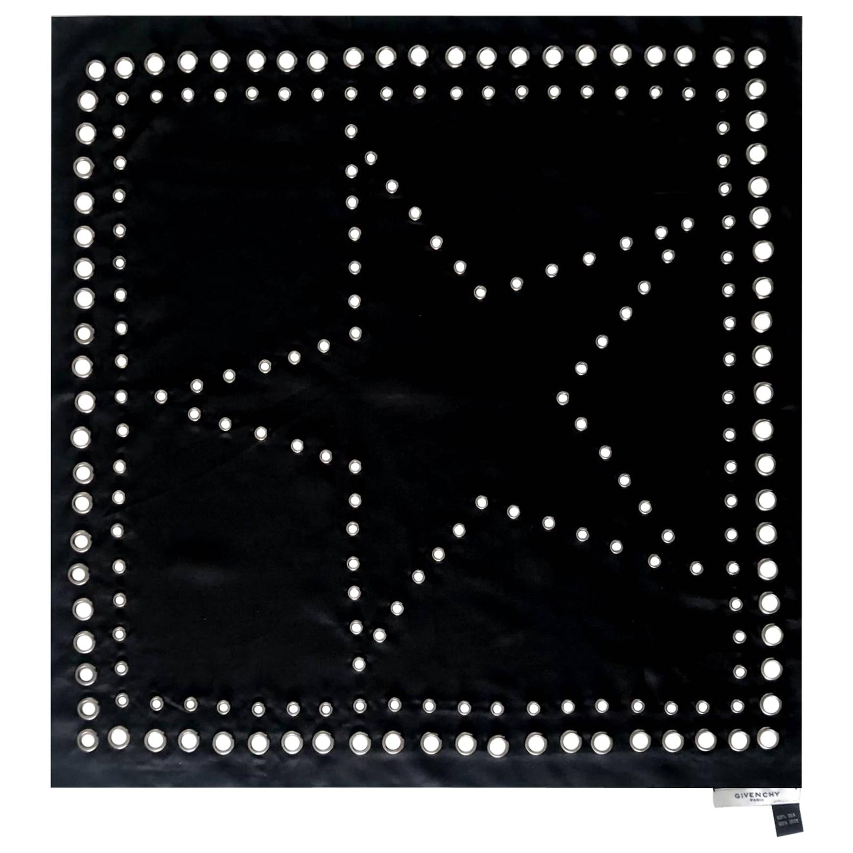2000s Givenchy Black Studded Star Silk Scarf