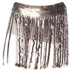 2000S Grey Silk Crepe & Georgette Fringe Mini Skirt Covered In Metal Pailettes