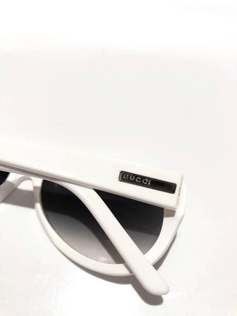 Gray 2000s Gucci Aviator White Sunglasses  For Sale