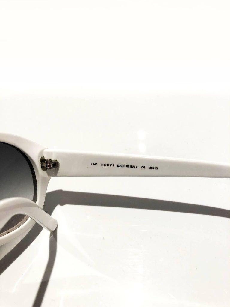 2000s Gucci Aviator White Sunglasses  In Good Condition For Sale In London, GB