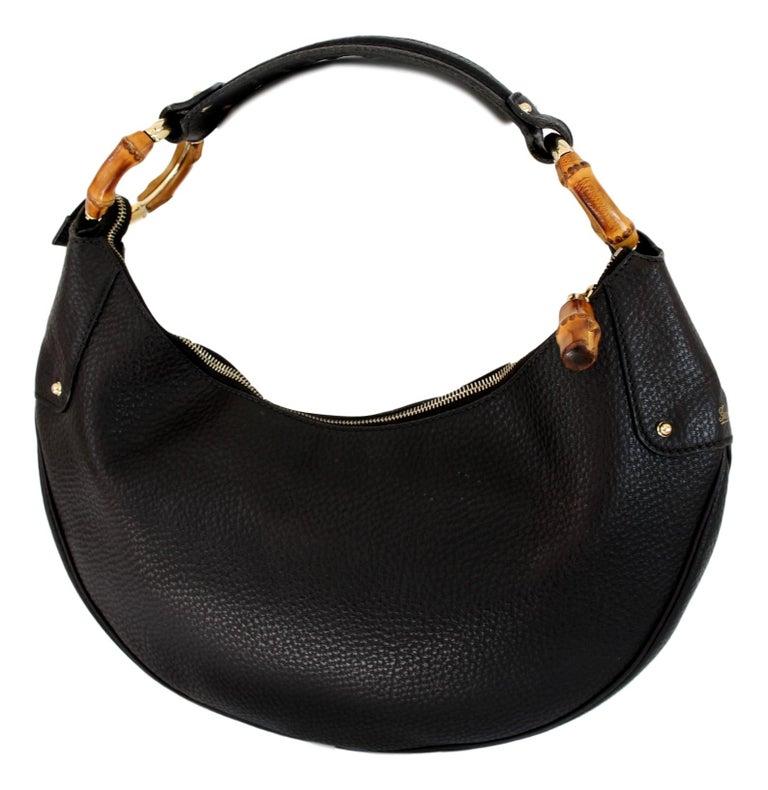 bd66eaf21ac7af 2000s Gucci Black Leather Bamboo Ring Half Moon Hobo Shoulder Bag For Sale