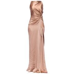 2000S GUCCI Ecru Bias Cut Silk Charmeuse Minimal Trained Gown