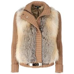 2000s Gucci Fox Fur And Wool Beige Caridgan