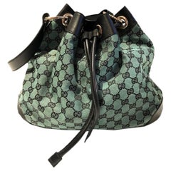 2000s GUCCI green fabric bucket cloth leather bag