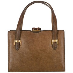 1950s Gucci Kaki Leather Handbag
