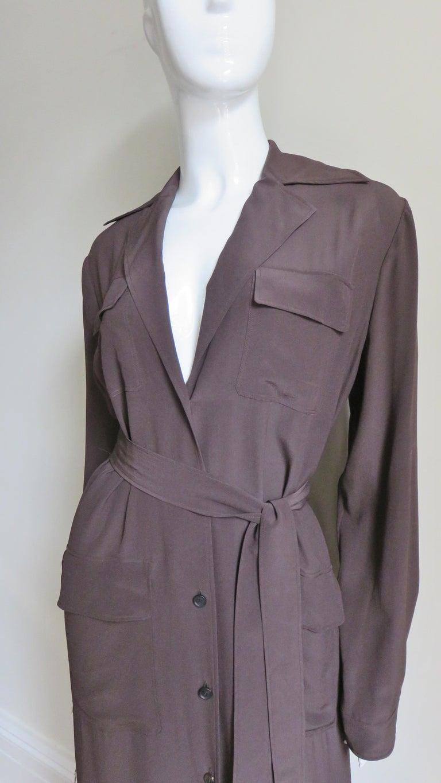 Black 2000s Gucci New Silk Shirtwaist Maxi Dress For Sale