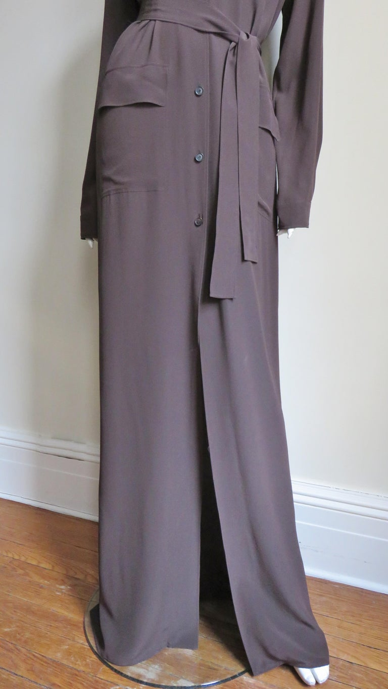 2000s Gucci New Silk Shirtwaist Maxi Dress In Good Condition For Sale In New York, NY
