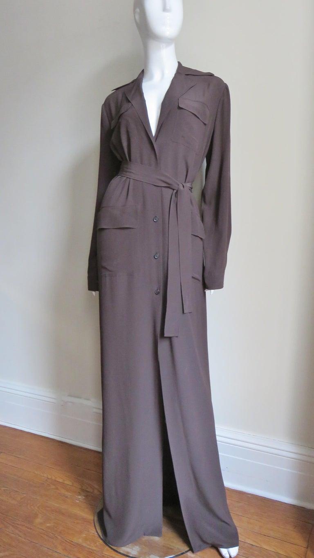 Women's 2000s Gucci New Silk Shirtwaist Maxi Dress For Sale