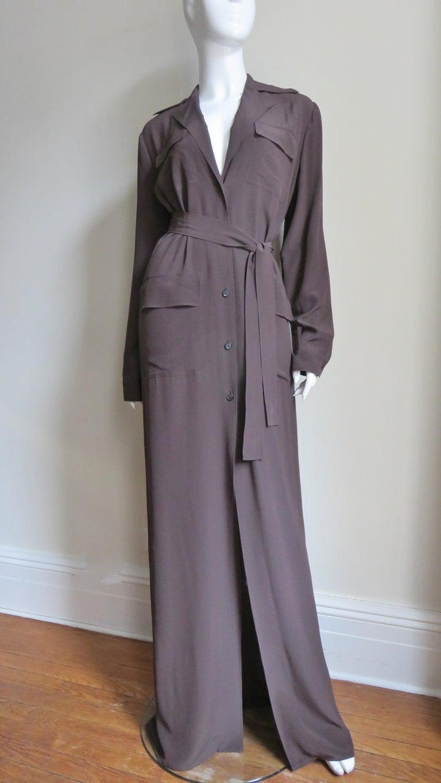 2000s Gucci New Silk Shirtwaist Maxi Dress For Sale 1