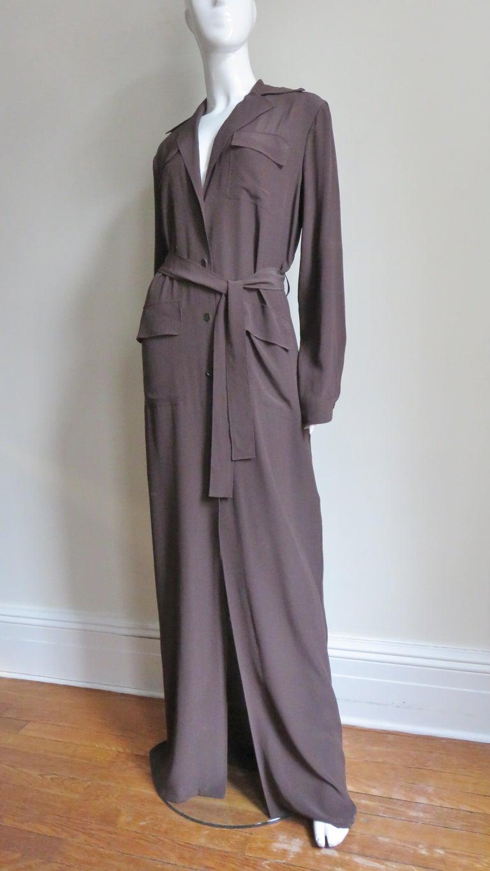 2000s Gucci New Silk Shirtwaist Maxi Dress For Sale 2