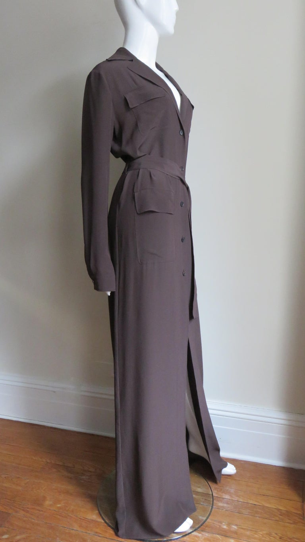 2000s Gucci New Silk Shirtwaist Maxi Dress For Sale 3