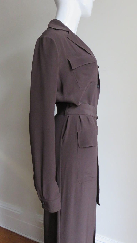 2000s Gucci New Silk Shirtwaist Maxi Dress For Sale 4