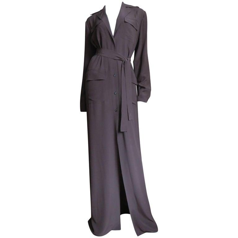 2000s Gucci New Silk Shirtwaist Maxi Dress For Sale