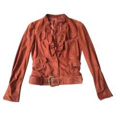 2000s Gucci Terracotta Orange Suede Biker Jacket