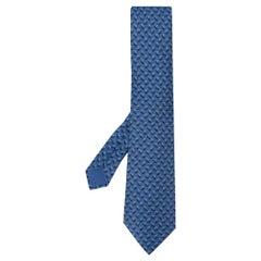 2000s Hermès Blue Print silk Tie