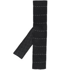 2000s Hermès Dash Embroidered Grey Knitted Tie