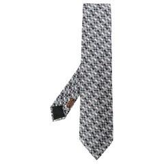 2000s Hermès Grey Checked Tie