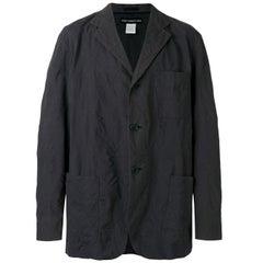 2000s Issey Miyake Swirl Trim Black Oversized Jacket