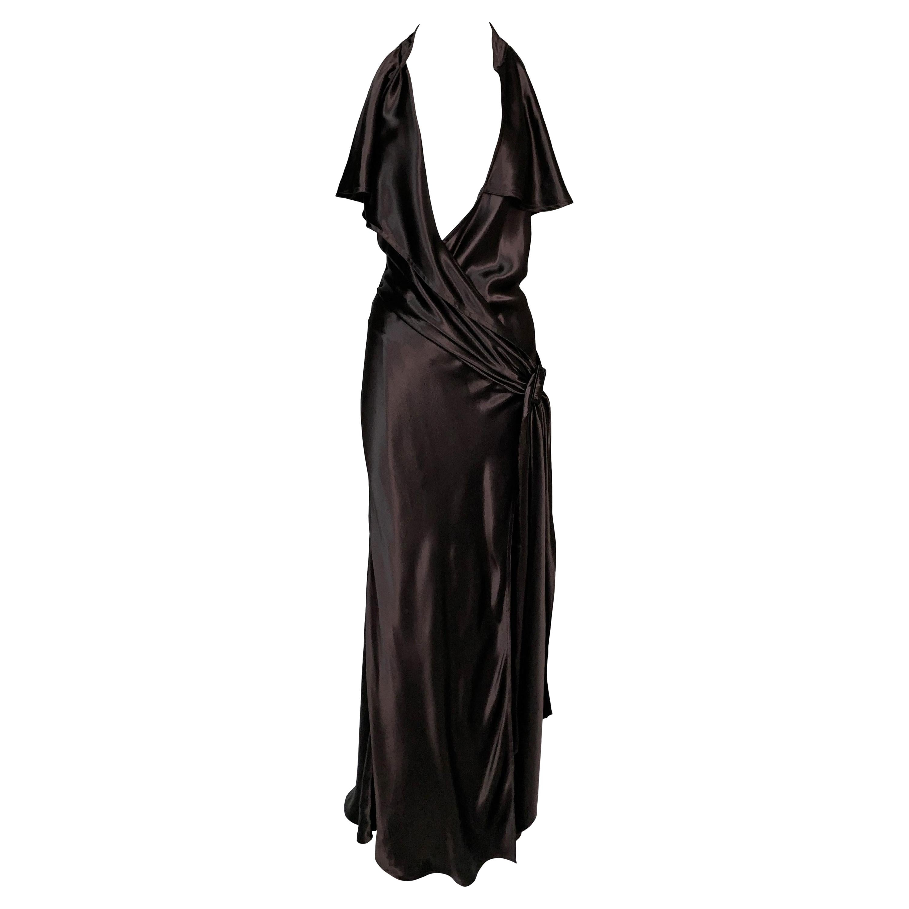 2000's Jean Paul Gaultier Brown Satin Plunging Cut-Out Gown Dress