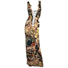 2000's Jean Paul Gaultier Butterfly Plunging Tie-Up Long Dress