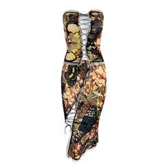 2000's Jean Paul Gaultier Cut-Out Corset Ties Butterfly Strapless Top  Skirt Set