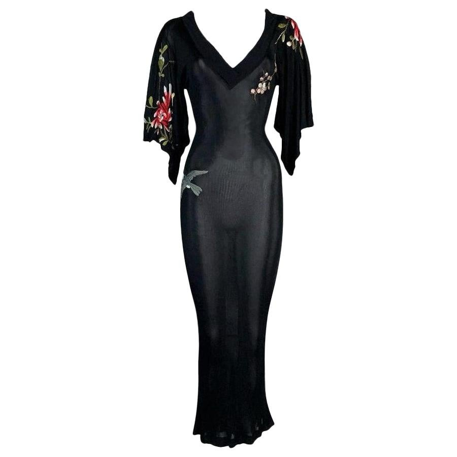 2000's Jean Paul Gaultier Plunging Sheer Black Embroidered Kimono Long Dress