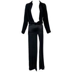 2000's Jean Paul Gaultier Semi-Sheer Black Silk Plunging Drop Waist Long Dress