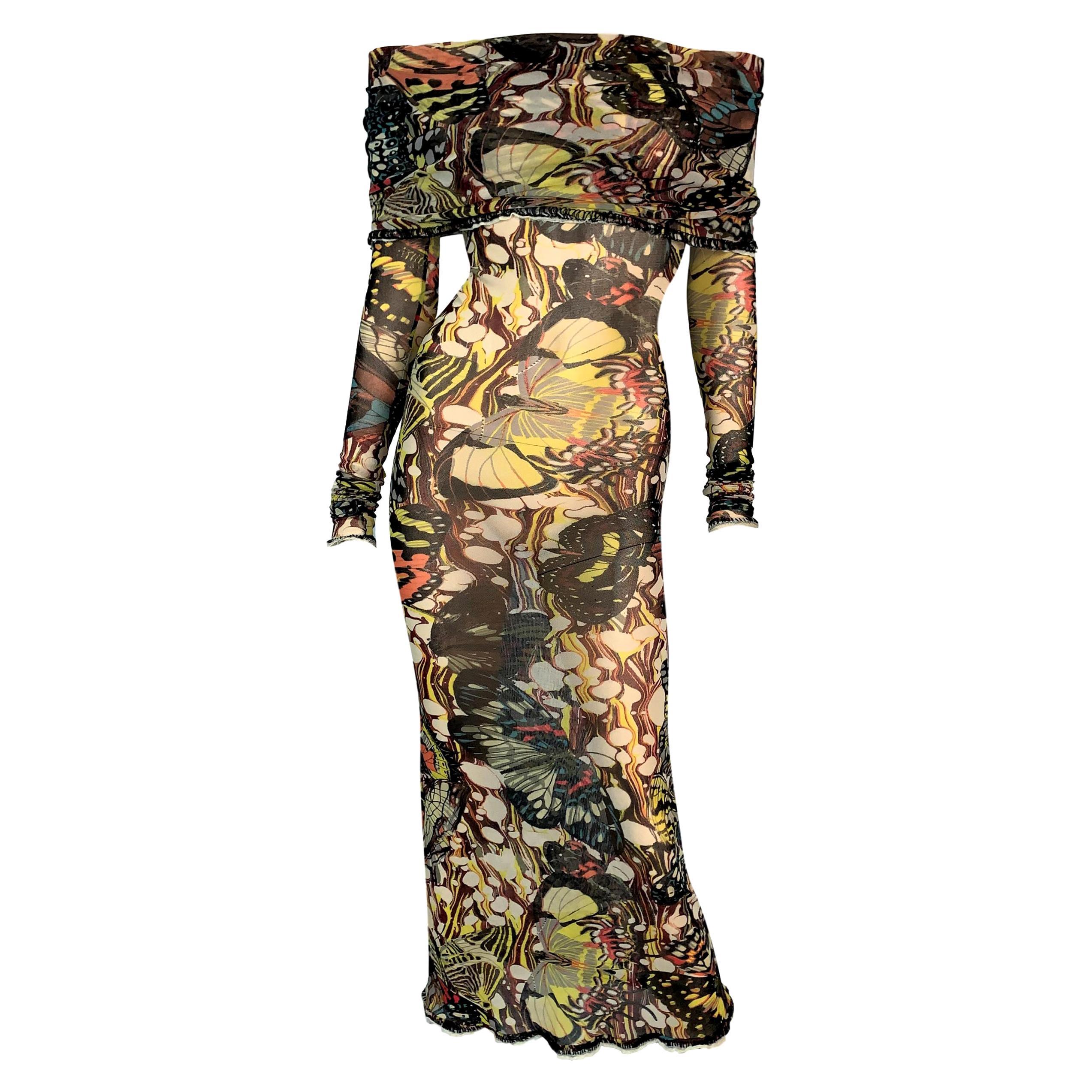 2000's Jean Paul Gaultier Sheer Butterfly Mesh Off Shoulder Long Dress M