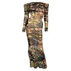 2000's Jean Paul Gaultier Sheer Butterfly Mesh Off Shoulder Long Dress S