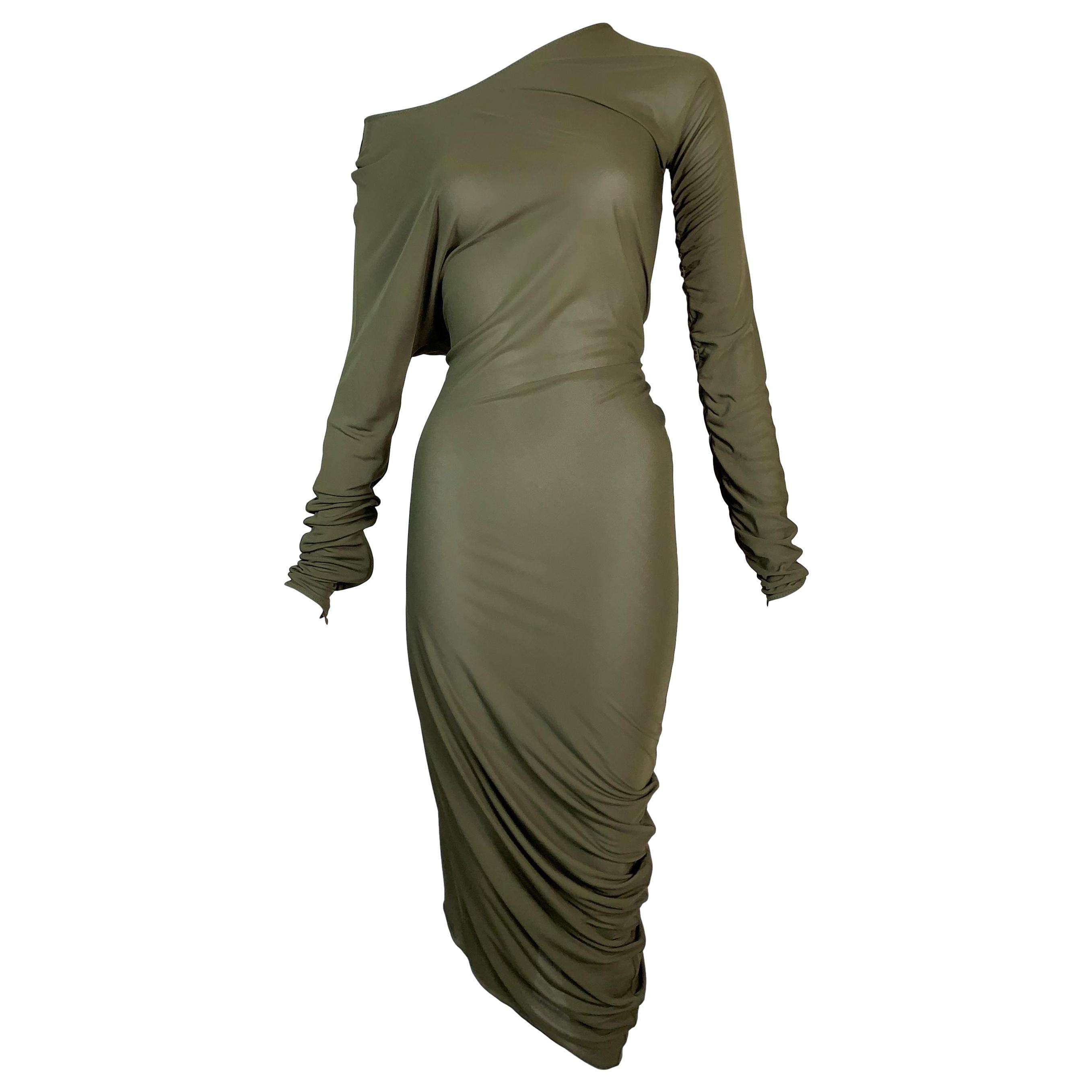 2000's Jean Paul Gaultier Sheer Green Asymmetrical Off Shoulder Ruched Dress