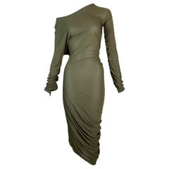 2000's Jean Paul Gaultier Sheer Green Asymmetrical Off Shoulder Ruched Dress