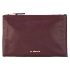 2000s Jil Sander Burgundy Leather Clutch