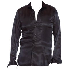 2000S JOHN GALLIANO Black Rayon Satin Formal Tuxedo Shirt With French Cuffs