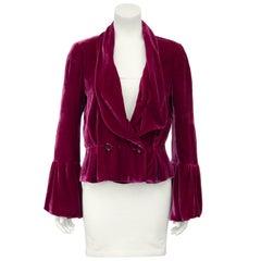 2000s John Galliano Burgundy Velvet Jacket