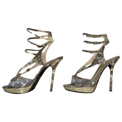 2000's John Galliano Leather Snakeskin Clear PVC Strappy Super High Heels 41