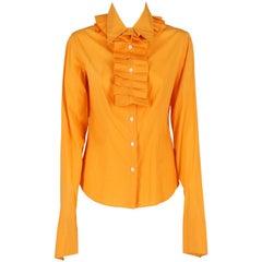2000s Just Cavalli Orange Ruffles Shirt