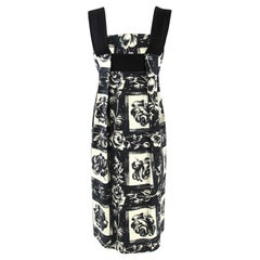 2000s Kenzo Floral Printed Black and White Cotton Dress