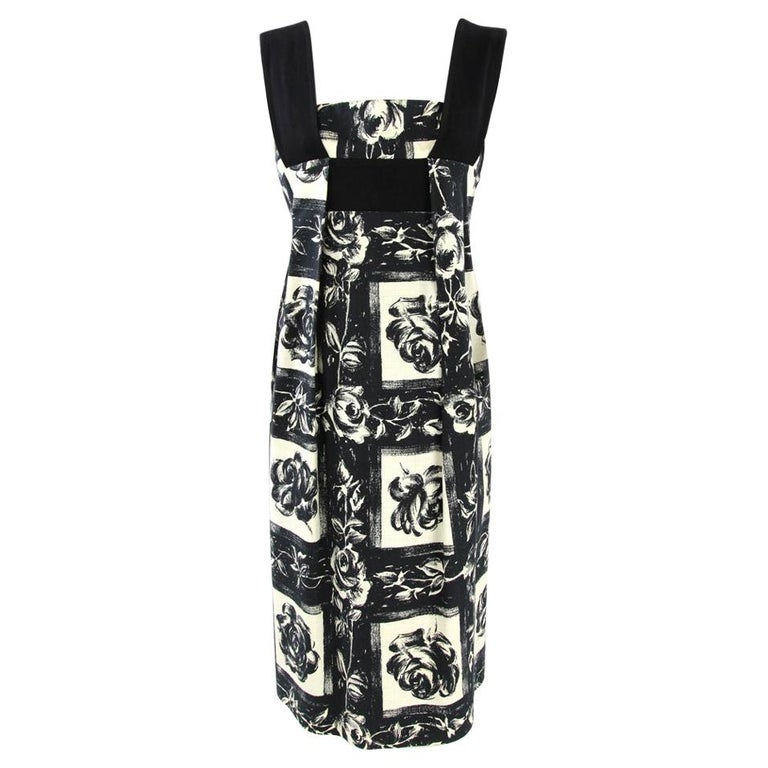 2000s Kenzo Floral Printed Black and White Cotton Dress For Sale