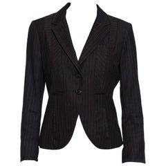 2000S KENZO Grey Wool Patchwork Pinstripe Fitted Blazer