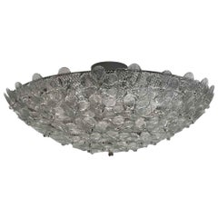 2000s Large Italian Murano Floral Textured Glass Semi Flush Light with 6-Light