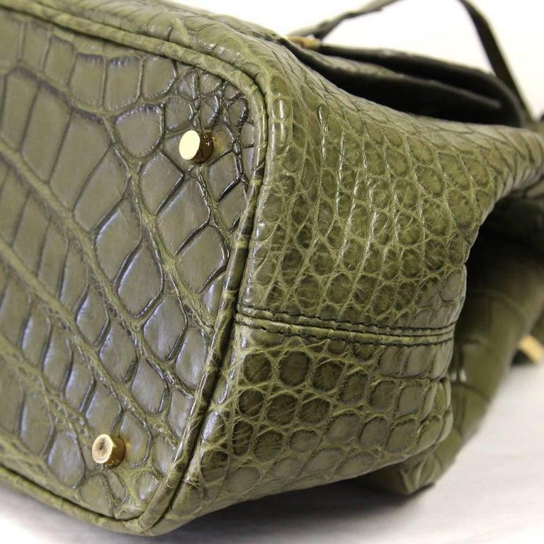 2000s Loro Piana Green Crocodile Leather Handbag For Sale 1
