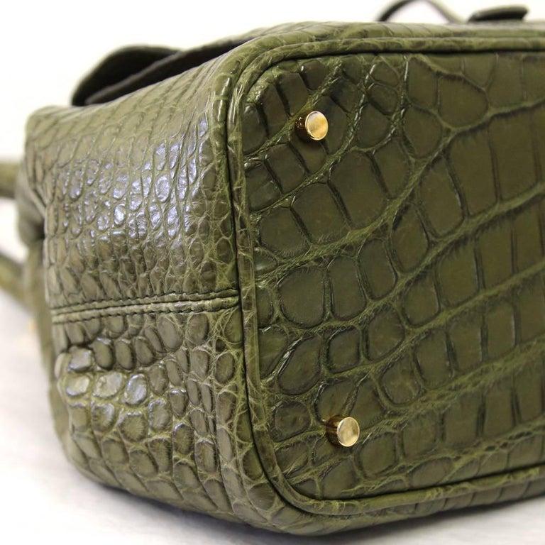 2000s Loro Piana Green Crocodile Leather Handbag For Sale 2