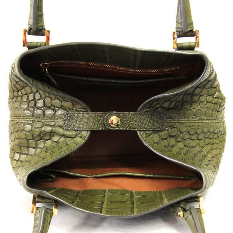2000s Loro Piana Green Crocodile Leather Handbag For Sale 3